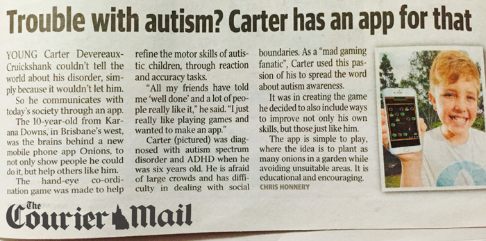 Carter pictured in the Courier Mail Brisbane
