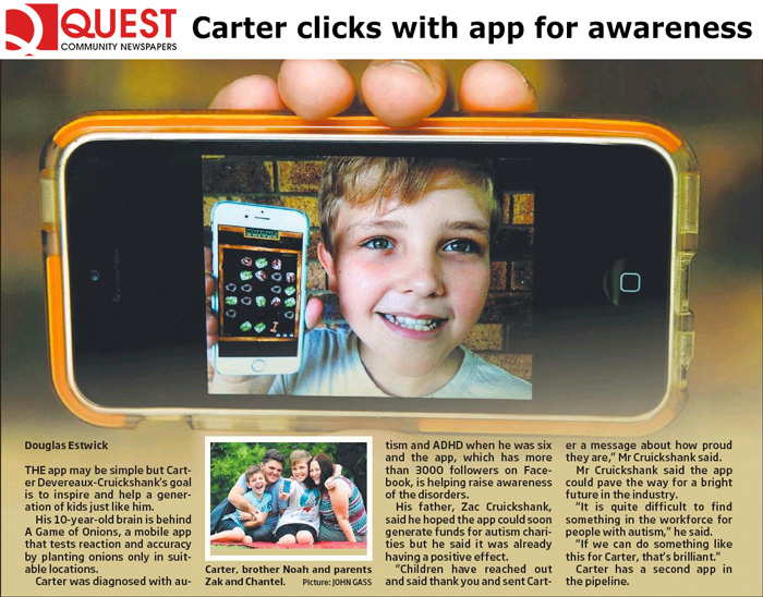 Carter pictured in the QUEST Community Newspapers